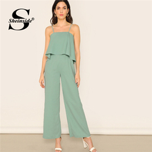 Sheinside Choker Neck Embroidered Mesh Sleeve Jumpsuit Women 2019 Spring Button Detail Trim Jumpsuits Ladies Solid Jumpsuit