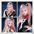 ePacket Free shipping  65cm Anime Super Danganronpa 2 Junko Enoshima Long Pink Cosplay Wig Ponytails
