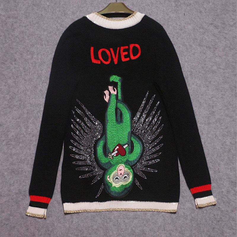 Winter Long Knitted Cardigan Women Sweater Cashmere Embroidered Monkey Diamond Pearl Buttons 2018 Spring Black Jumper Knitwear by Ky&Q