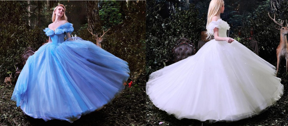 Buy hot sale cinderella dress blue and for White cinderella wedding dress