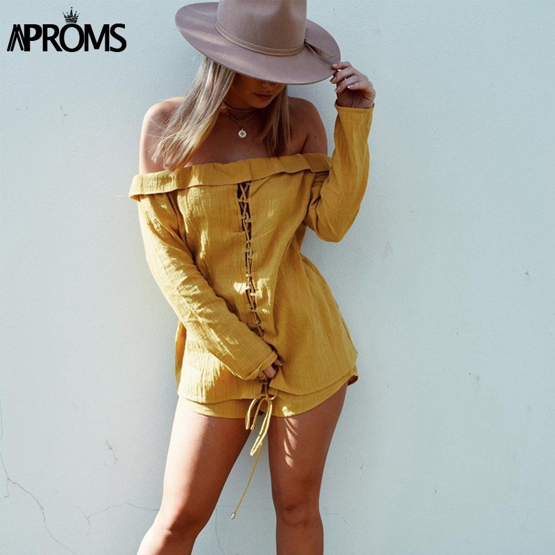Aproms Yellow Lace Up Off Shoulder Women Romper Suit 2018 High Street 2 Piece Set Casual 3/4 Sleeve Top and Shorts Outfits 80371