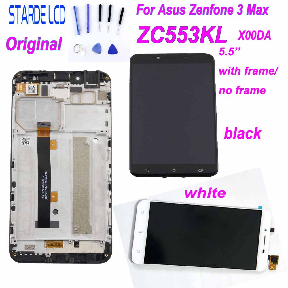 For Asus Zenfone 3 Max ZC553KL X00DD LCD Display Panel Touch Screen Sensor Assembly With Frame X00DA LCD+Tools