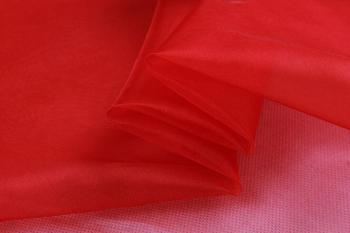 Howmay  100% pure silk fabric organza 6m/m 140cm width 8# red solid color for costume decoration curtain