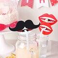 10 pcs Decoração Do Partido Photo Booth Engraçado Barba Lábio Pirulito Decoração Decorações Da Festa de Aniversário Crianças Foto Adereços de Palha Para O Casamento