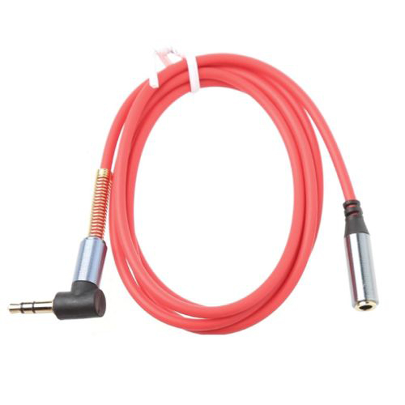On Sale 1M 3.5MM Jack 90 Right Angle Male To Female Audio Aux Extension Cable Cord 3 Colors
