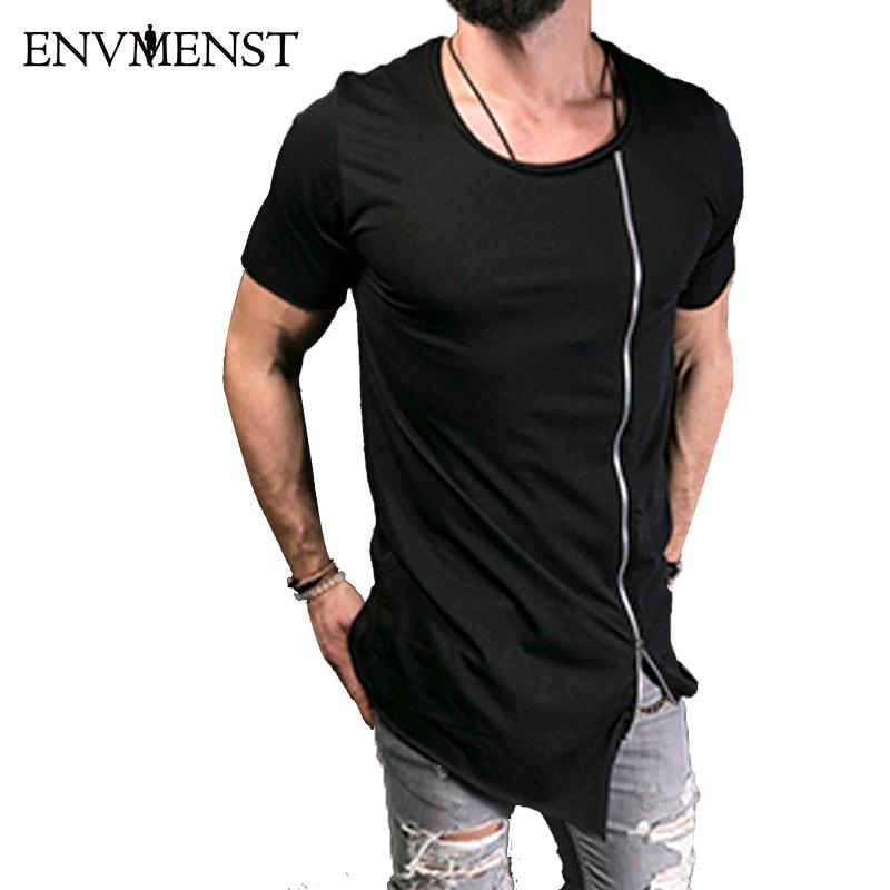 2018 جديد الرجال الأزياء تظهر أنيق طويل تي شيرت غير المتكافئة السوستة الجانبية كبيرة الرقبة قصيرة الأكمام تي شيرت الذكور الهيب هوب تي