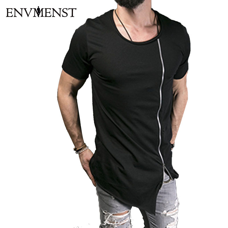 2018 Nuevos Hombres Desfile de moda Elegante camiseta larga Asimétrica Cremallera lateral Gran cuello Camiseta de manga corta Hombre Hip Hop Tee