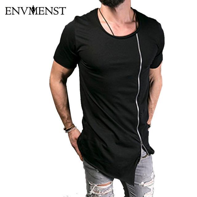 82d37e078977c 2018 Новая мужская Модная стильная длинная футболка Асимметричная боковая  молния Большая Шея с коротким рукавом Футболка
