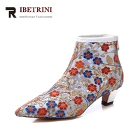 RIBETRINI 2018 Genuine Leather Large Size 34 42 Zip Up Embroidery Women Shoes Woman Casual Mid