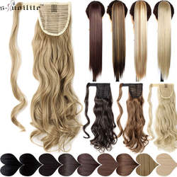 SNOILITE 17''23'' длинные волнистые хвосты Клип В синтетических конский хвост Поддельные химическое наращивание волос браслет из натуральной
