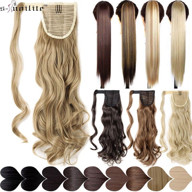 SNOILITE 17''23'' largo ondulado Cola de Caballo Clip sintético Pony cola falsa de la extensión del pelo de negro Rubio pelo para las mujeres