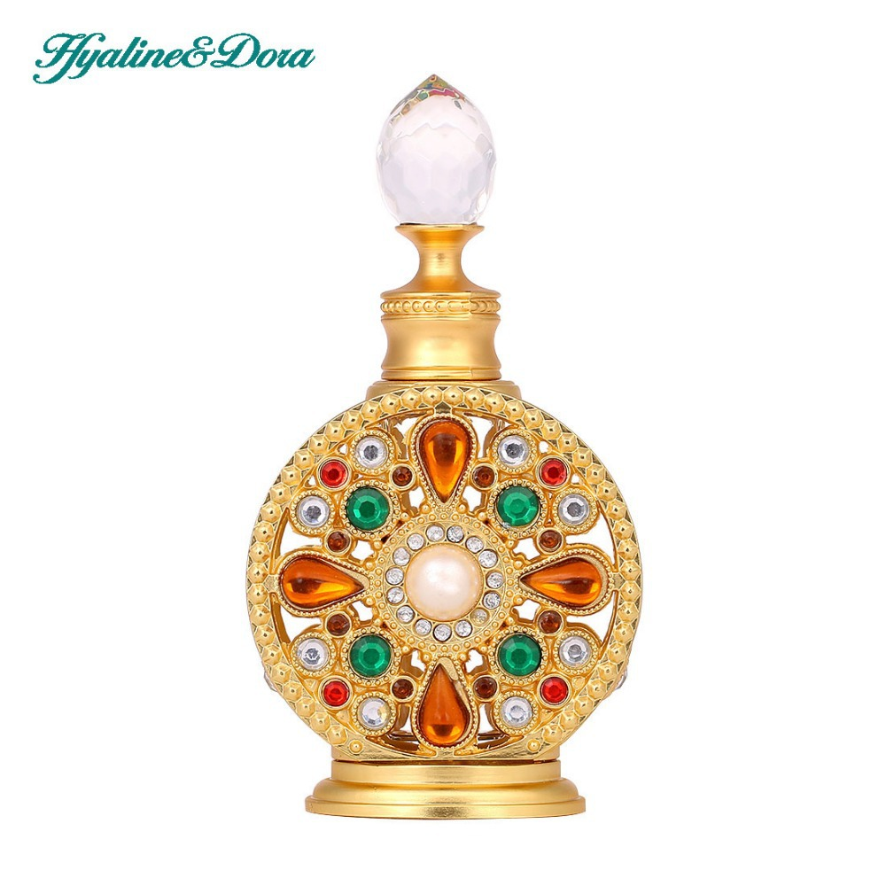 12ml Diamante Retro Antique Hollow Out Glass Perfume Bottle Empty Cosmetic Container Perfume Bottle 2pcslot 15ml cc hollow out copper color middle east essential bottle for oils perfume empty glass bottle for wedding decor