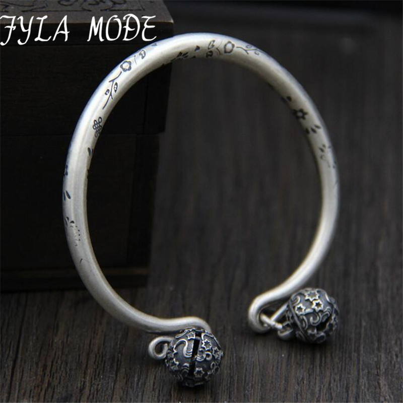 New Flower Carved Double Bells Charms Bracelet S999 Silver Cuff Bracelet Bangle 2017 Women Fashion Jewelry 5mm 37.80G TYC117New Flower Carved Double Bells Charms Bracelet S999 Silver Cuff Bracelet Bangle 2017 Women Fashion Jewelry 5mm 37.80G TYC117