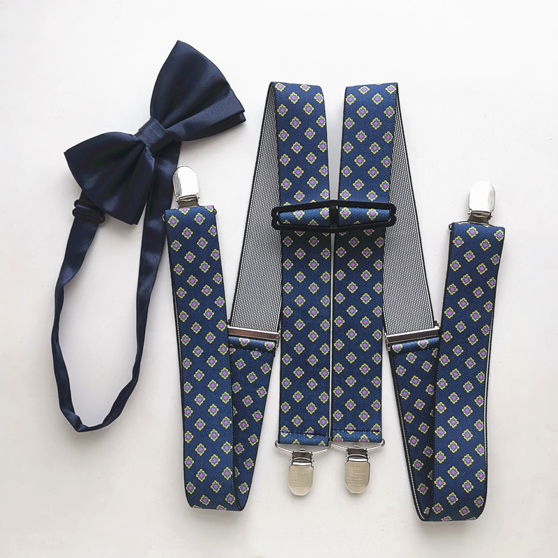 New Printed Big Men Suspender Butterfly Bow Tie Set Children Women Adult Suspenders Neck Tie Matching Shirt Wedding LB049
