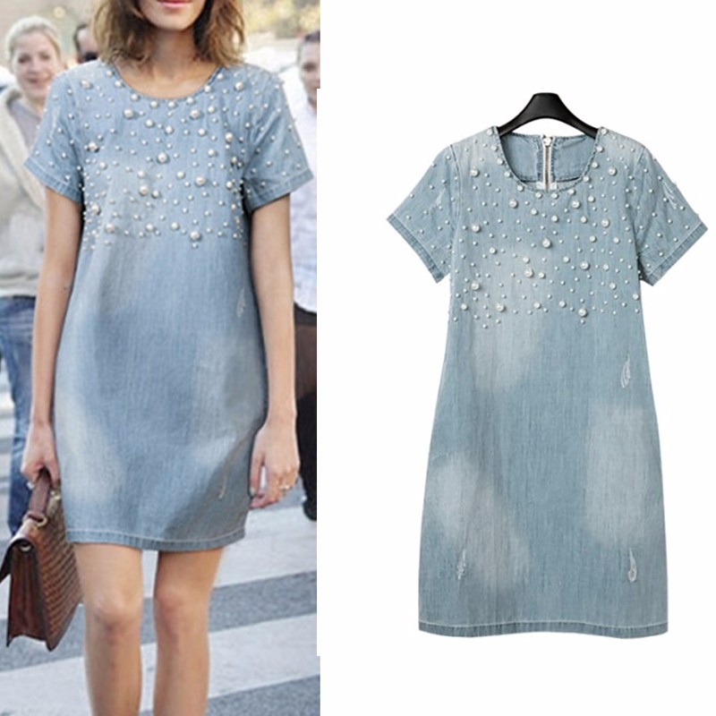 FreeShipping2018 Summer Loose Blue Jeans <font><b>Dresses</b></font> for Women Plus Size Short Sleeve O Neck Women Denim <font><b>Dress</b></font> Washed Vestidos S-5XL image