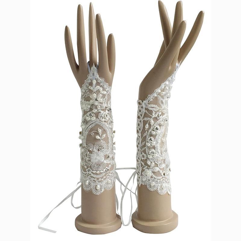 White Ivory Stock Bridal Gloves Fingerless Lace For Wedding Bride Cheap Accessories ST15 Bruids Handschoenen