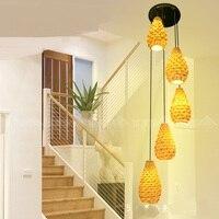 Stairs lights selling bamboo woven bamboo lamp pineapple dessert restaurant Pendant Lights durian bamboo ZA zb17