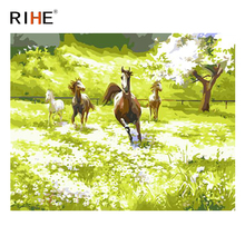 RIHE Horse Running Diy Painting By Numbers Animal Grassland Oil On Canvas Hand Painted Cuadros Decoracion Acrylic Paint