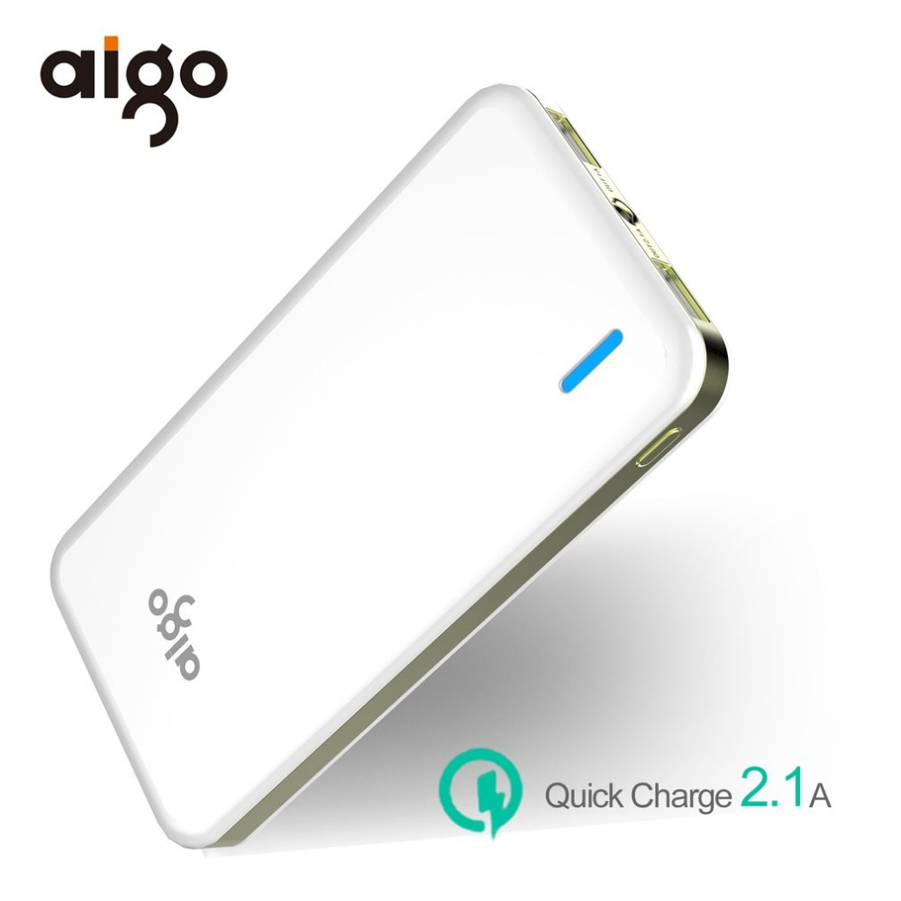 Aigo N6 10000mAh Power Bank Dual USB Output Charging Port With LED Lighted Overload Protect Large Capacity Smart Compatibility