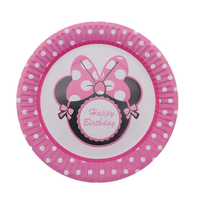 Decoración de fiesta de cumpleaños Minnie Mouse vajilla desechable tazas platos servilletas paja para niños suministros de fiesta decoración del hogar