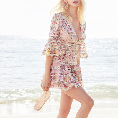 2018 Women Summer Runway V neck Lace Embroidery Flare Sleeve Dress Hollow out Floral print Casaul High Quality dress