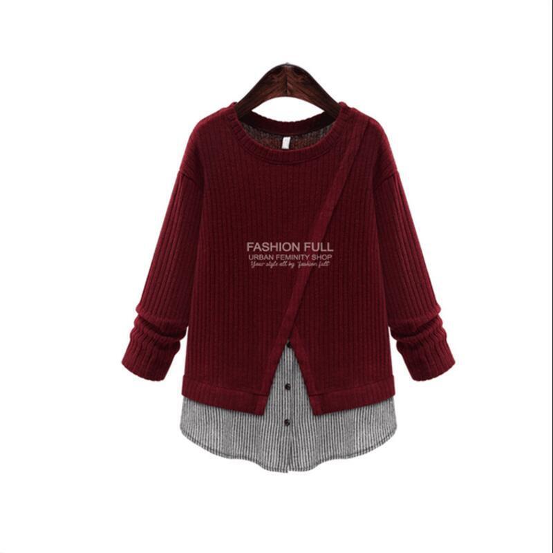 2017 Autumn Kimono Vintage Women s Loose Knit Shirt Tops Plus Size 5XL Fake Two Pieces
