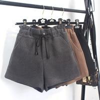Wol shorts vrouwelijke winter dikke herfst grote maat 4XL 5XL elastische taille Een lijn hoge taille leisure basic brede been shorts