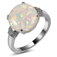 Hot Sale Exquisite White Fire Opal 925 Sterling Silver High Quantity Engagement Wedding Ring Size 5 6 7 8 9 10 11 A137