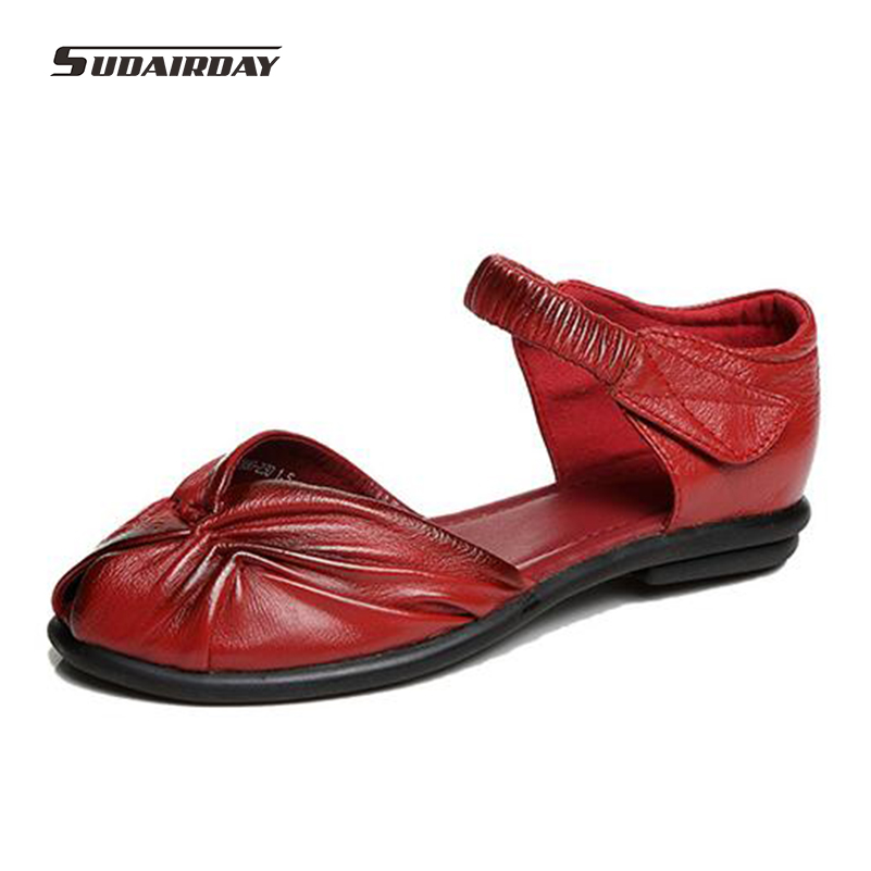 2016 New Women's D'orsay Flats Flat Shoes Woman Vintage Handmade Shoes Genuine Leather Soft Outsole Shoes Women Flats Size 35-40