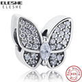 ELESHE Fit Original Pandora Charms Bracelet 925 Sterling Silver CZ Crystal Butterfly Beads DIY Jewelry Making Valentine's Day