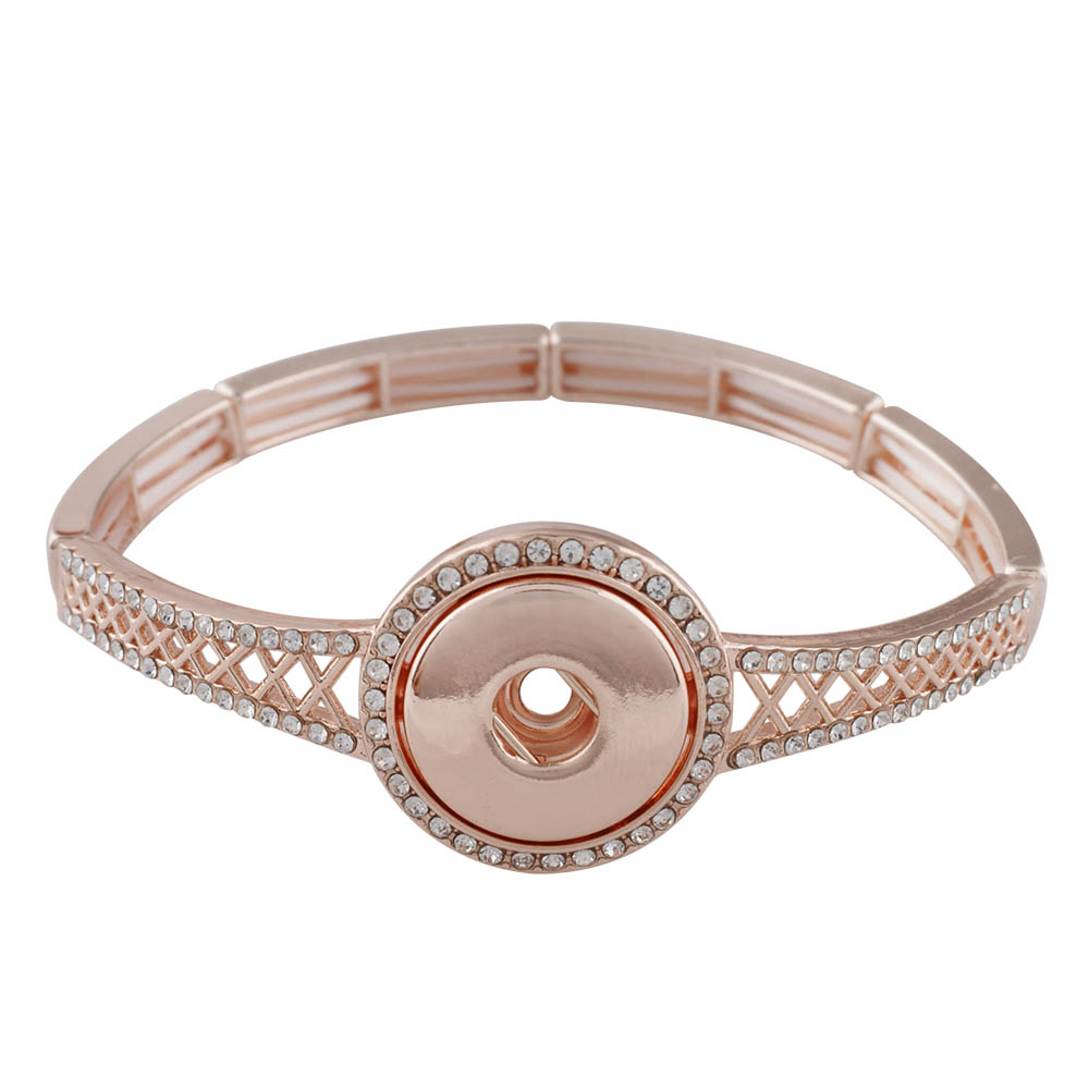 Partnerbeads 18mm Snap Button Jewelry Birthday Gift For Girlfriend Mom Health Bangle Bracelet Women Rose Gold Color In Charm Bracelets From