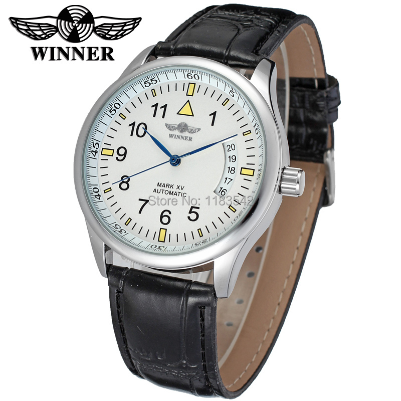 New Winner Casual Watches Men Hotsale Automatic fashion Men Watch black leather strap Shipping Free WRG8024M3S1