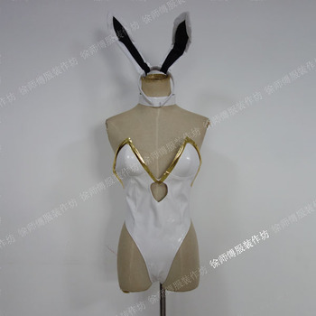 [Customized] Hot Game LOL Ahri The Grand Duelist Fiora Laurent Bunny Girl Sexy PU Leather Bodysuit Cosplay Costume Free shipping