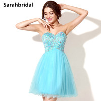 Color Handmade Beaded Short Homecoming Dresses Blue Tulle 8th Grade Graduation Dresses 2015 Vestido De Festa