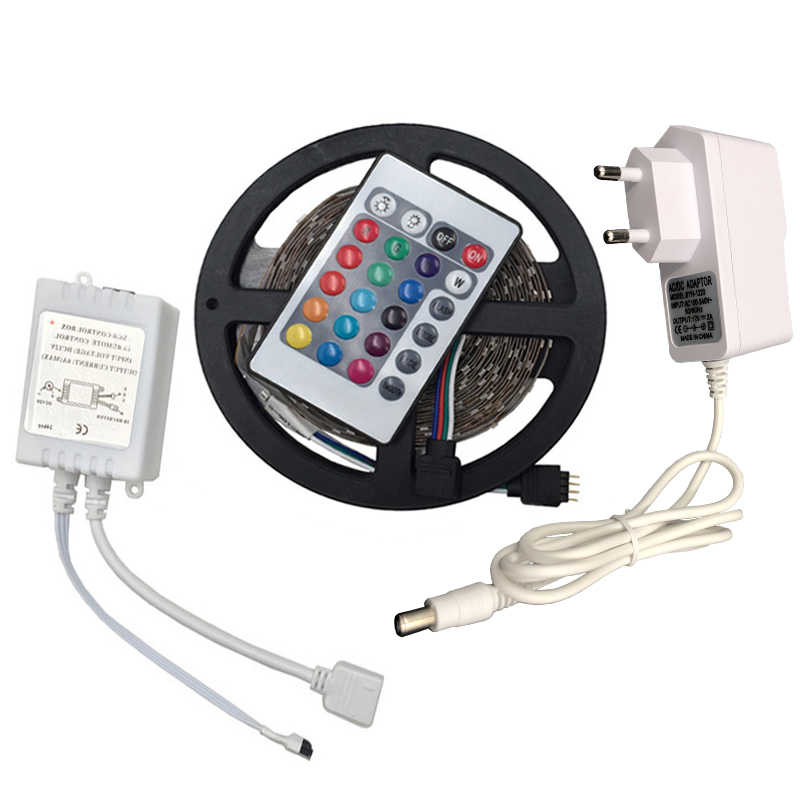 RGB LED Strip Light 2835 3528 SMD 5 M 300 LED Flexible Strip Lampu Tape IR Remote Controller 12 V 2A Adaptor Daya Pita LED