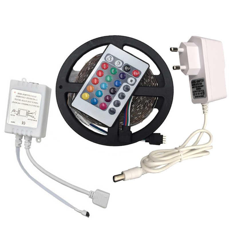 RGB LED Strip Light 2835 3528 SMD 5 M 300 LED Flexible Strip Lampu Tape IR Remote Controller 12 V 2A Adaptor Daya Pita LED