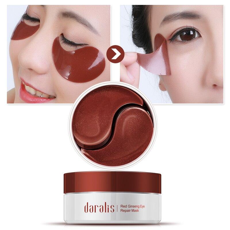 60 piezas de Ginseng rojo colágeno máscara de ojos Anti-arrugas parches Círculos oscuros removedor de ojo de Gel para los ojos cuidado de ojos almohadillas