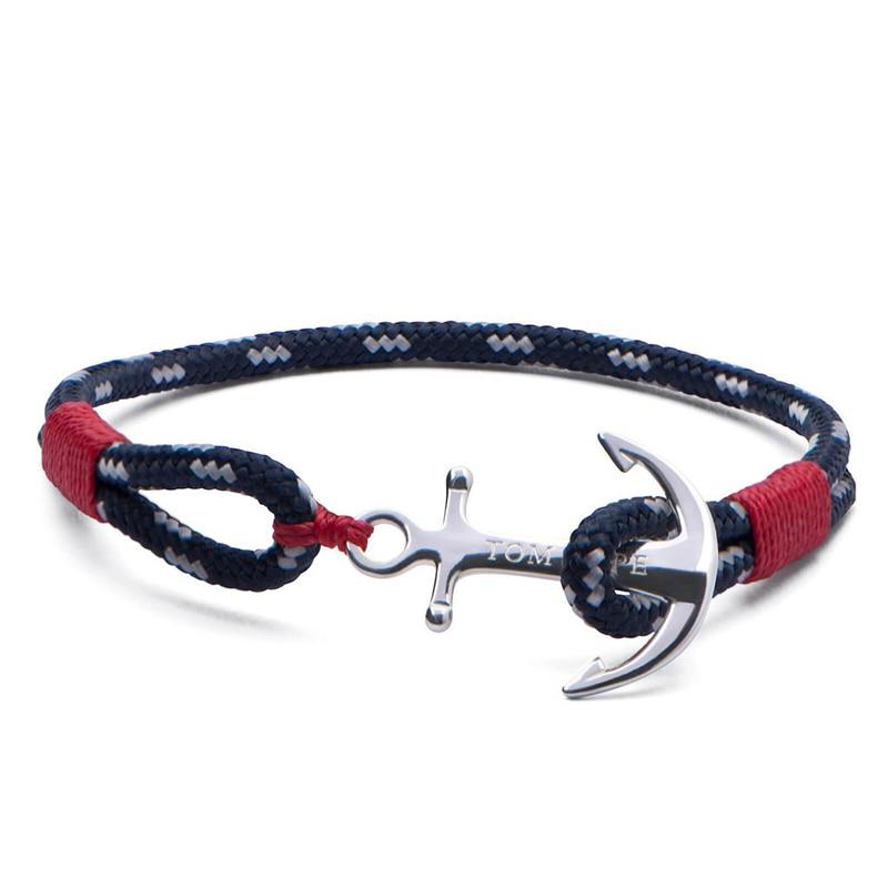 4 size tom hope Atlantic Red rope bracelet bangle Mediterranean navy stainless steel anchor bracelet TH1