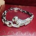 Бесплатная Отправка Дизайнерский Стиль Женщин Стерлингового Серебра С Платиновым Покрытием Циркон Пантера Браслет