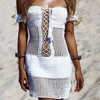 Sexy Swimsuit Knitted Tunics For Beach Bikini Cover Ups Crochet Beach Dress Pareos Womens Swim Wear Bathing Suit Cover