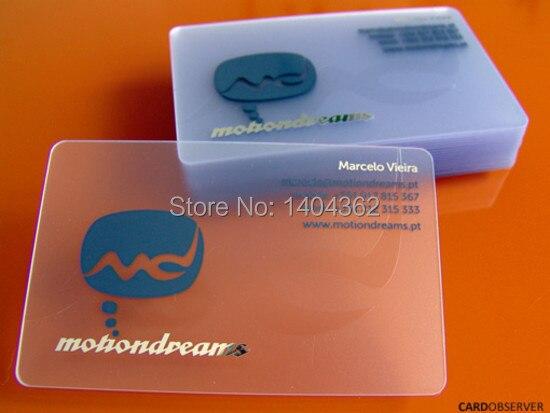 pvc plástico transparente cartões de visita cartão de visita fina