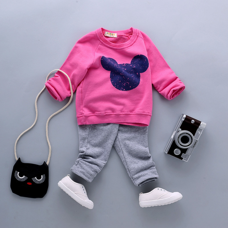 1-5Years Old Boys and Girls Clothing Nice Cartoon Children Set Long Sleeves Pullover Hoody+Pant Baby Sport Cloth Two Piece Suit