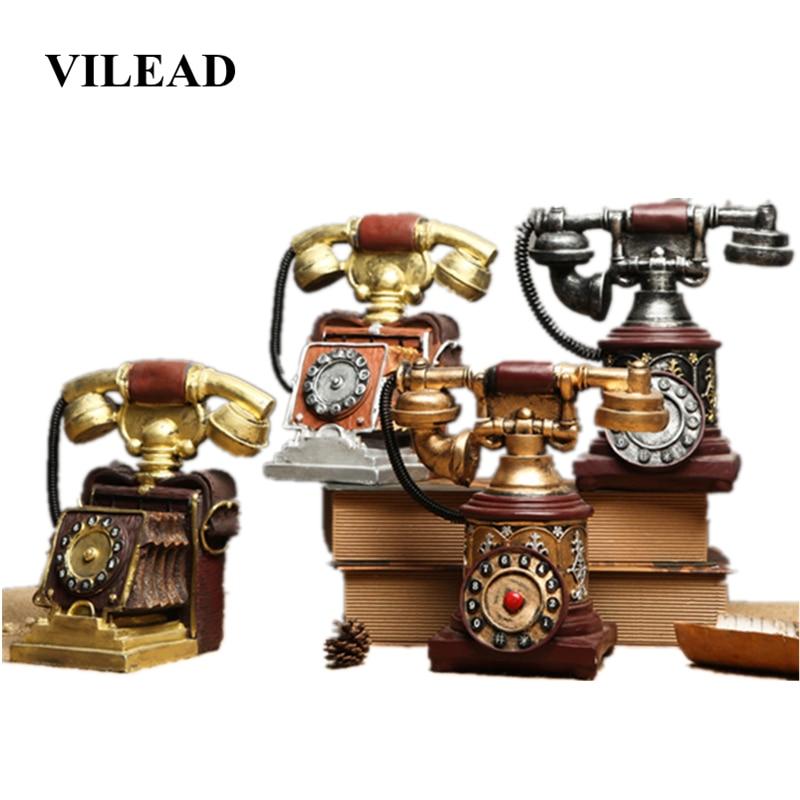 VILEAD 19 5cm Resin Telephone Figurines Miniatures Set Retro Window Decoration Coffee Shop Display Props Clothing Shop Gifts in Figurines Miniatures from Home Garden