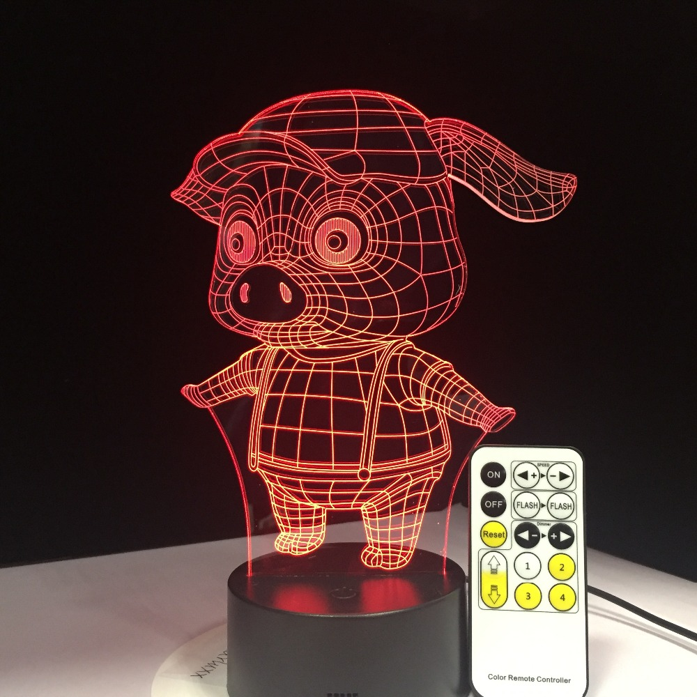 Latest Pig Night Light Pig 3D LED Lamp Remote Touch Colorful Desk 7 Colors Change Table Desk Nightlight for Kid Drop Shipping