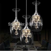 New Modern Crystal Wine Glass Glass Bar Suspension Lighting Pendant Lamp Restaurant Light LED Wine Glasses