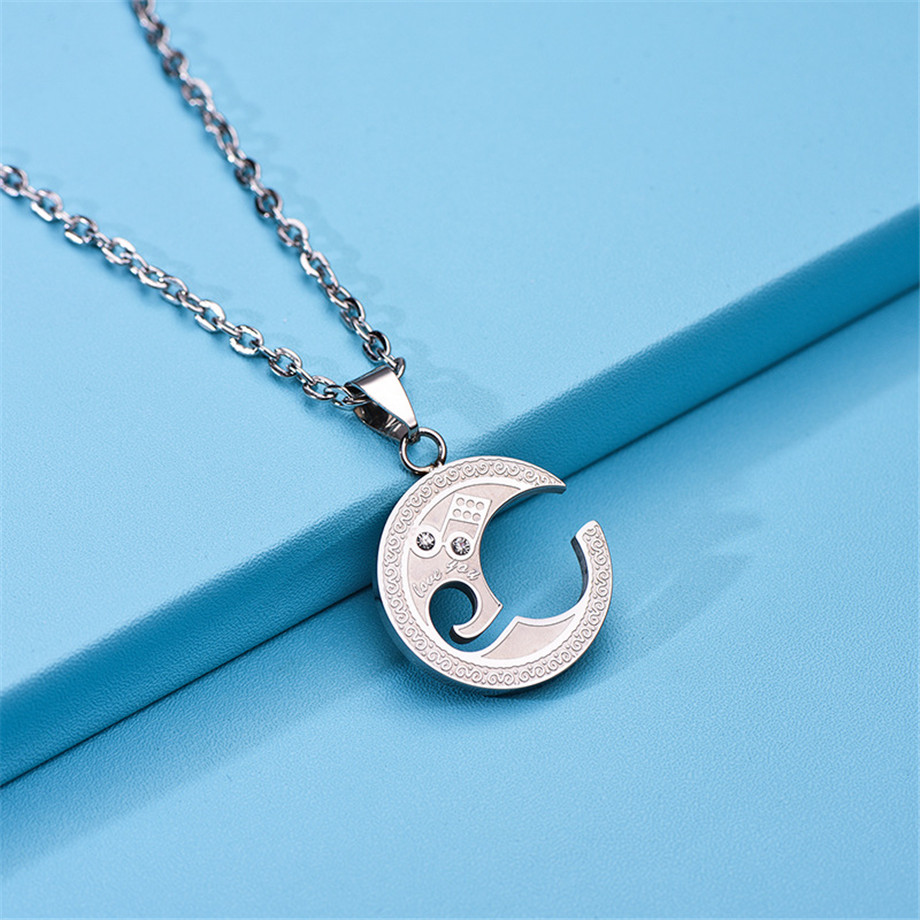 Couple Violin Clef Necklace Pendant Stainless Steel