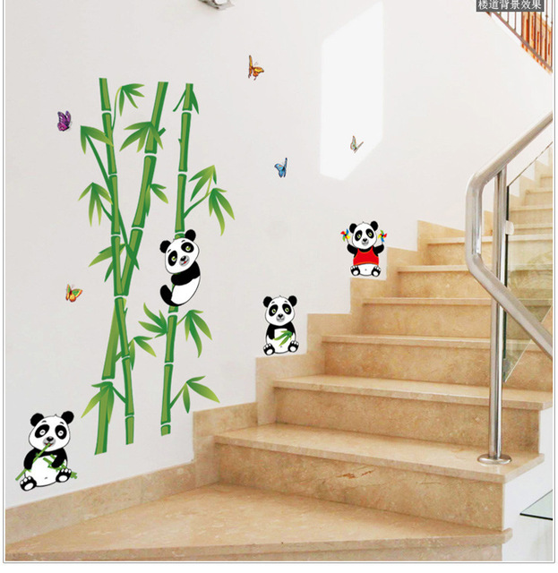 Chinois Belle Animal De Bande Dessinée Panda Wall Sticker Bambou