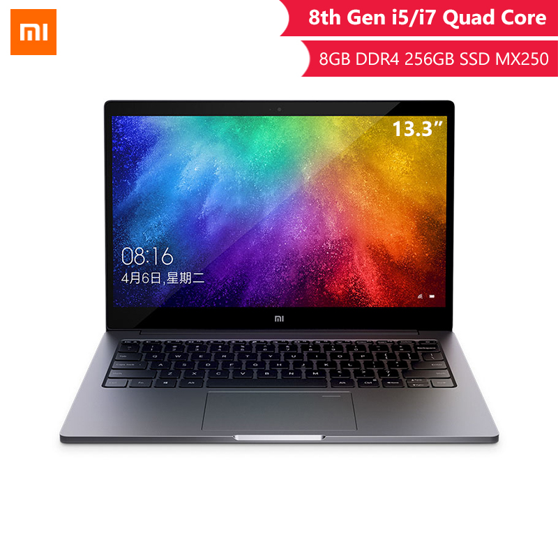 Original Xiaomi Laptop Air 13.3 Inch Inter 8th Quad Core I5 I7 8G MX250 Ultra Thin Laptops 256G SSD FHD PC For Game Office