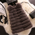 2015 Winter New Women Fur Vest Waistcoat Whole Skin Fox Fur Slim Medium Long Special Discount Price BF-V0098