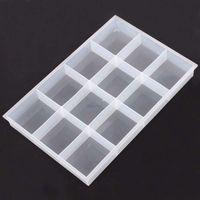DoreenBeads Varejo Vazio Beads Caixa de Armazenamento de Contentores Retângulo de Plástico Transparente 35x23 cm, 1 Pc (12 Pequeno compartimentos)